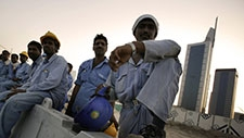 Migrant construction labourers working in Dubai.