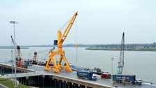 Products from Vietnam arrive at the Phnom Penh Autonomous port in Kandal province