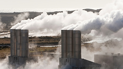 Steam rising from geothermal facility