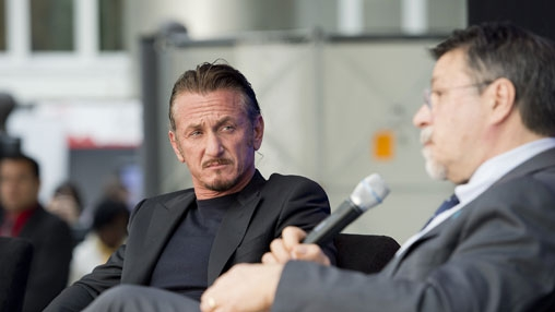 Actor Sean Penn and World Bank's Vice President for Latin America and the Caribbean, Hasan Tuluy.