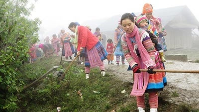 Women Maintain Rural Roads in Vietnam