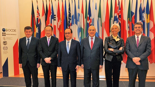 Meeting with French President Francois Hollande and the Heads of International Organisations