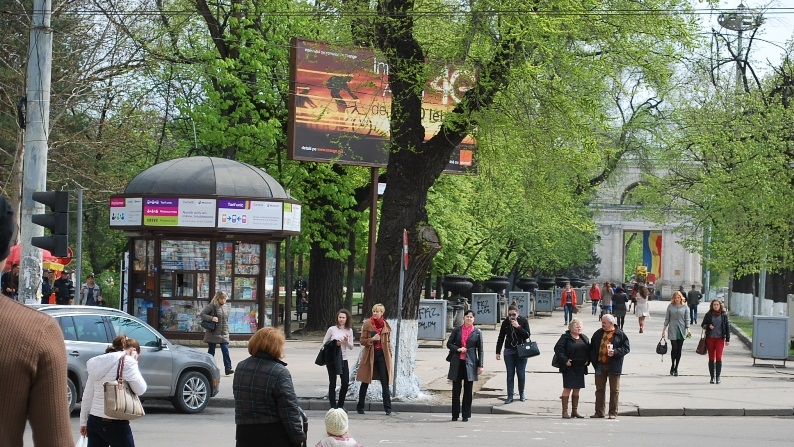 People on the main street of Chisinau, capital of the Republic of Moldova