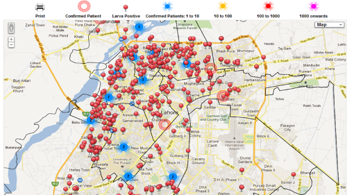 Real-time map showing dengue spread and anti-dengue activities in Lahore in 2012.