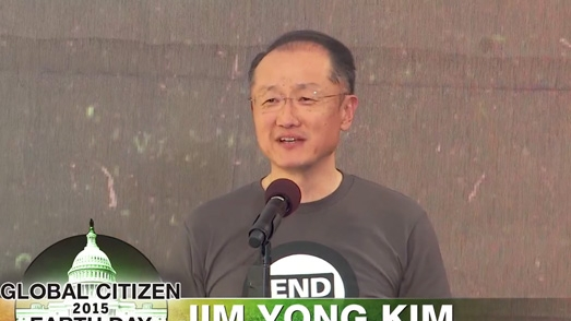 Jim Yong Kim on Stage at Global Citizen 2015 Earth Day