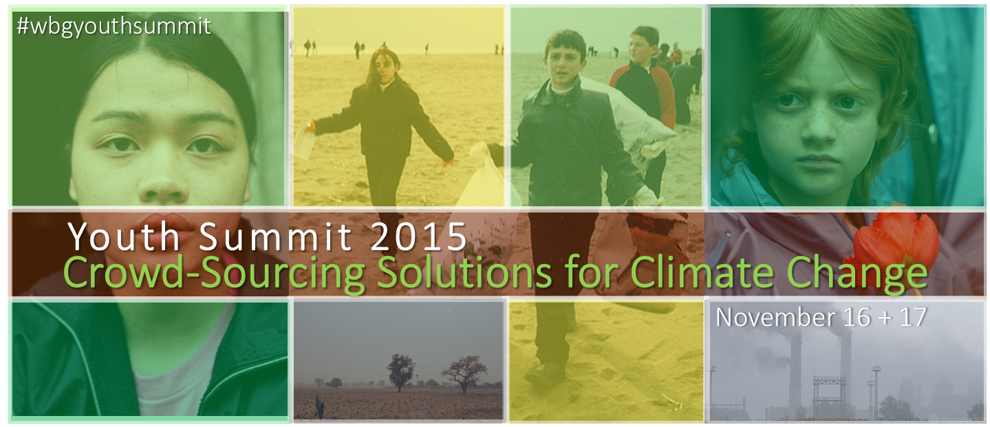 Collage of WBG images of youth and climate change