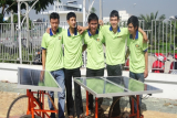 Vietnamese students with solar car