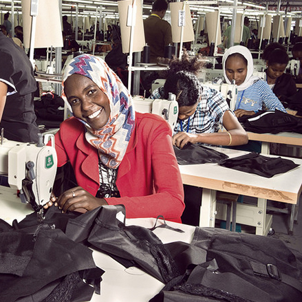 Nebiba works at the Shints textile factory in Ethiopia