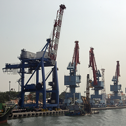 Large cranes at Tanjung Priok port, Indonesia's most advanced and efficient port.