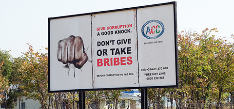 Anti-Corruption sign in Namibia. © Philip Schuler/World Bank