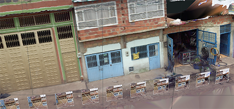 In Bogota, Colombia, street-view images were taken frequently enough for the construction of a 3D model built. The smaller boxes represent where the camera was in space. © Sarah Elizabeth Antos/World Bank