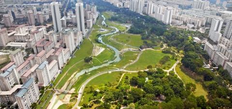 Aerial view of Bishan Park in Singapore. © Atelierdreiseitl