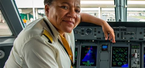 Mme. Adine Ossebi is the first woman airline captain in West Africa. She became a captain in the Asky Airlines in 2015, and started taking flying lessons at 15. She hopes her example will motivate young women to pursue their goals. © Arne Hoel/World Bank