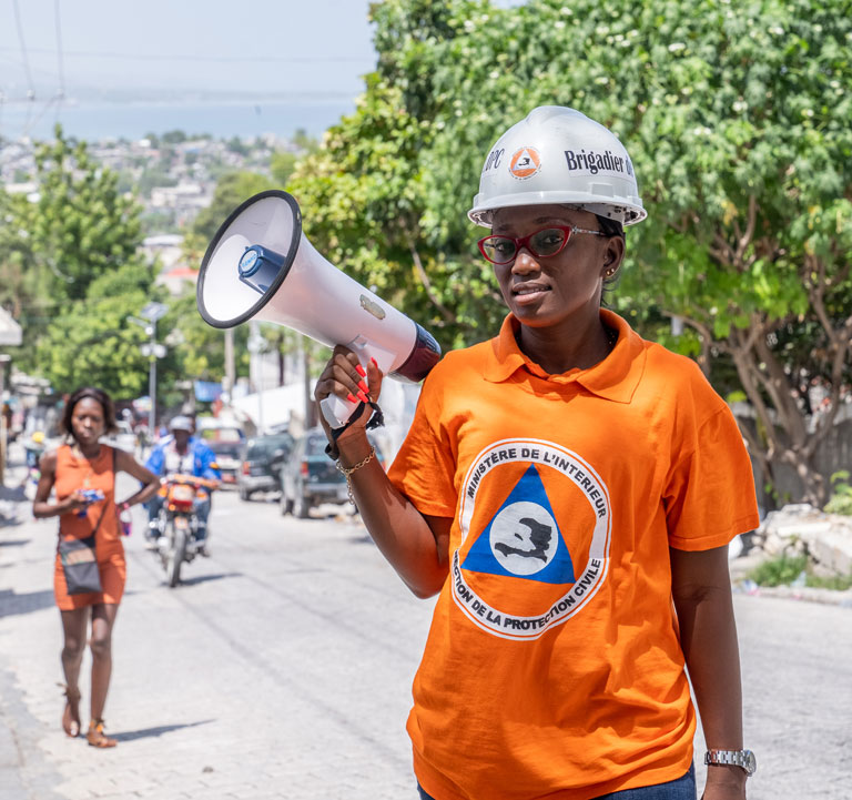 Esthelle Chapron is one of 3,000 trained volunteers who evacuate people and save lives when natural disasters strike Haiti. Photo in Solino, Port-au-Prince. Photo: © Vincent Theodore/World Bank