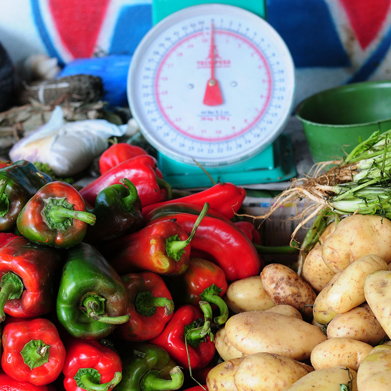 Produce at a market.