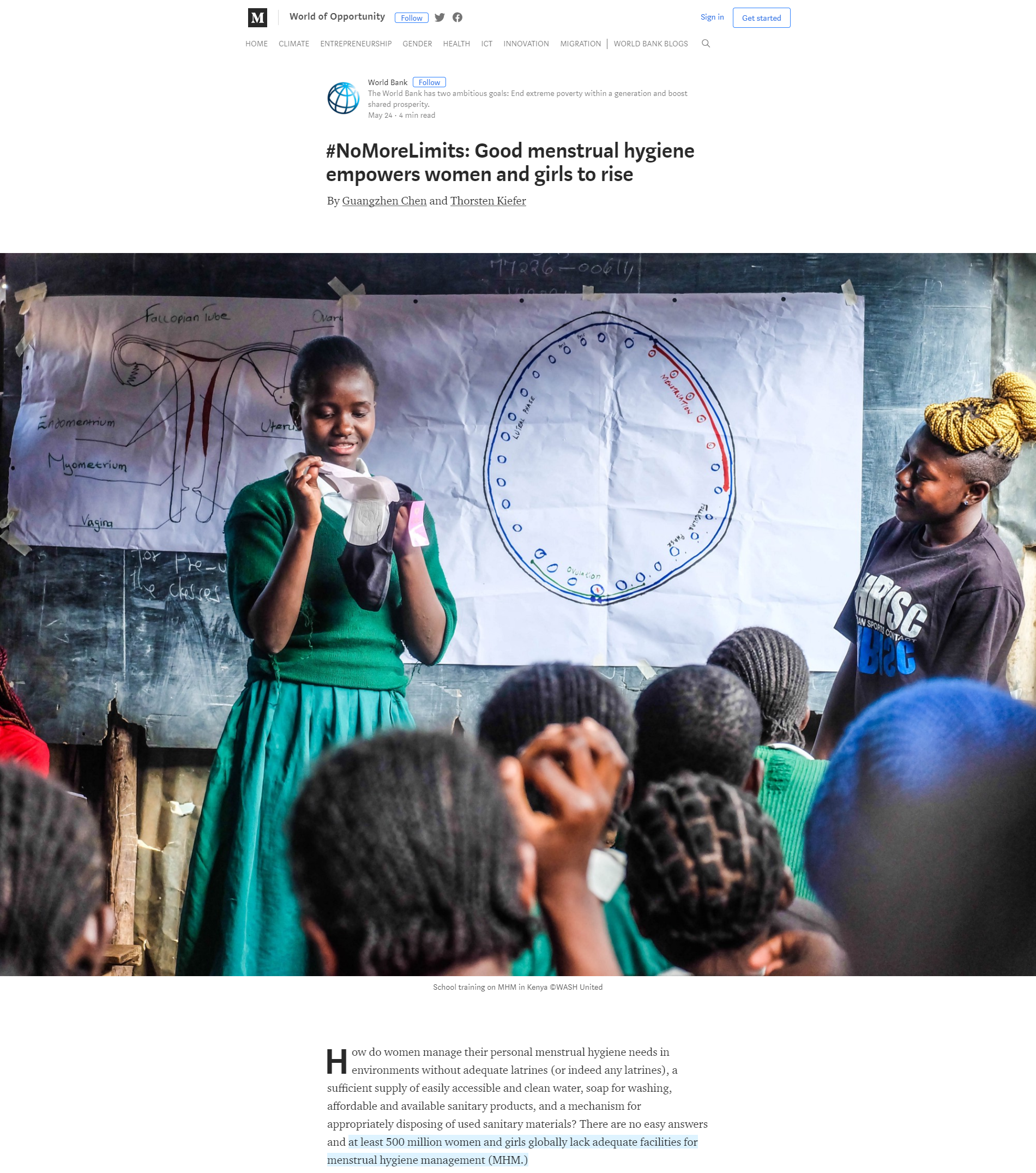 Menstrual Hygiene Management Enables Women and Girls to Reach Their