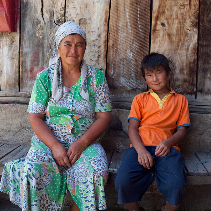 A mother and son in Kyrgyz Republic.