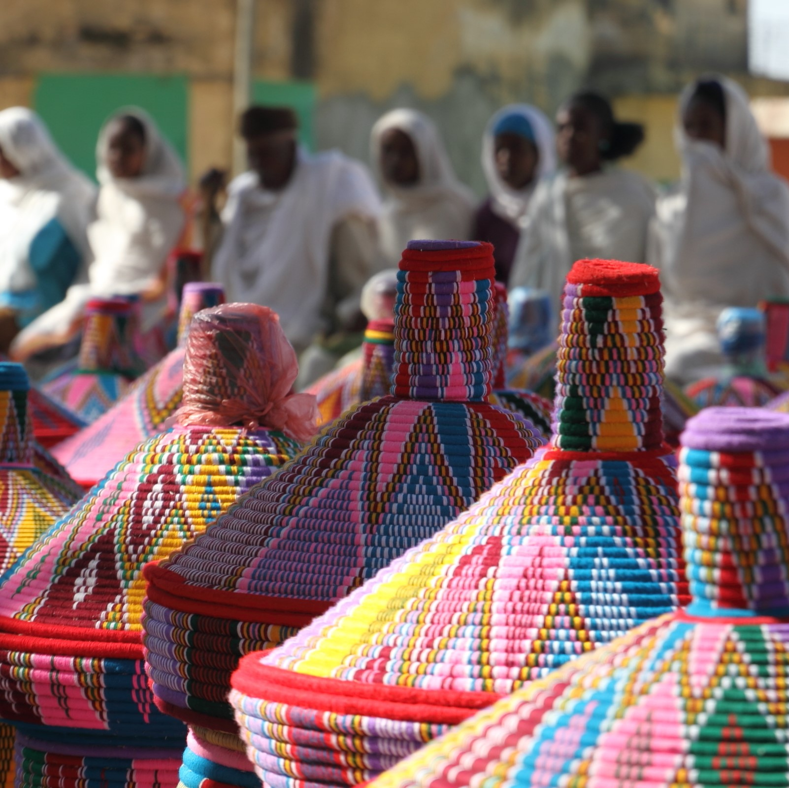 Colorful Basket Market and Vendors - Axum, Ethiopia