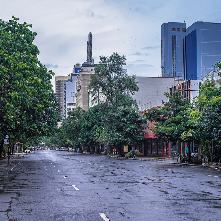 An empty street in Nairobi during the COVID-19 pandemic
