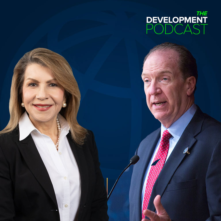 Promotion image for the Development Podcast featuring David Malpass and Carmen Reinhart