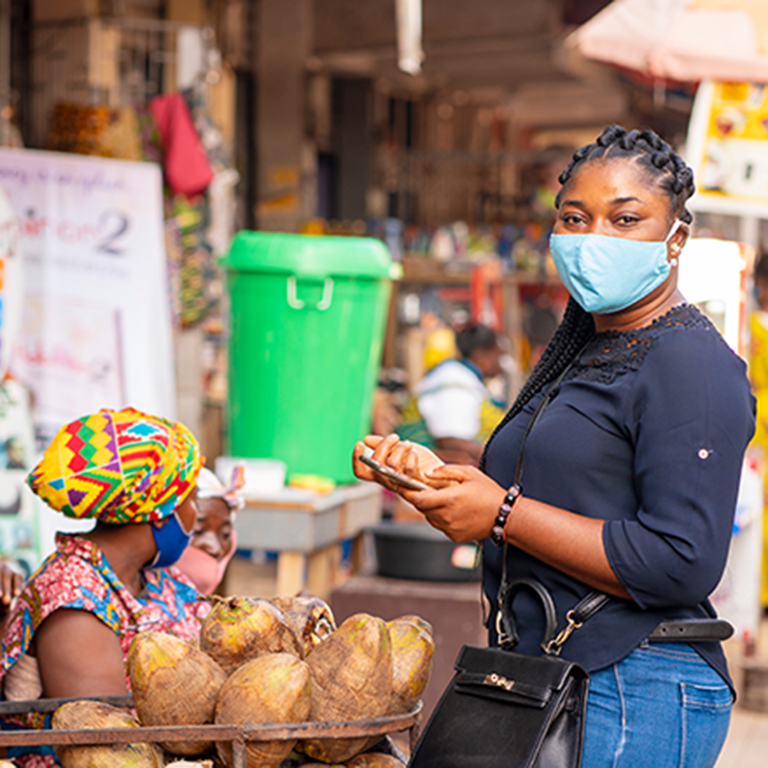 A market scene in Africa during the COVID-19 pandemic