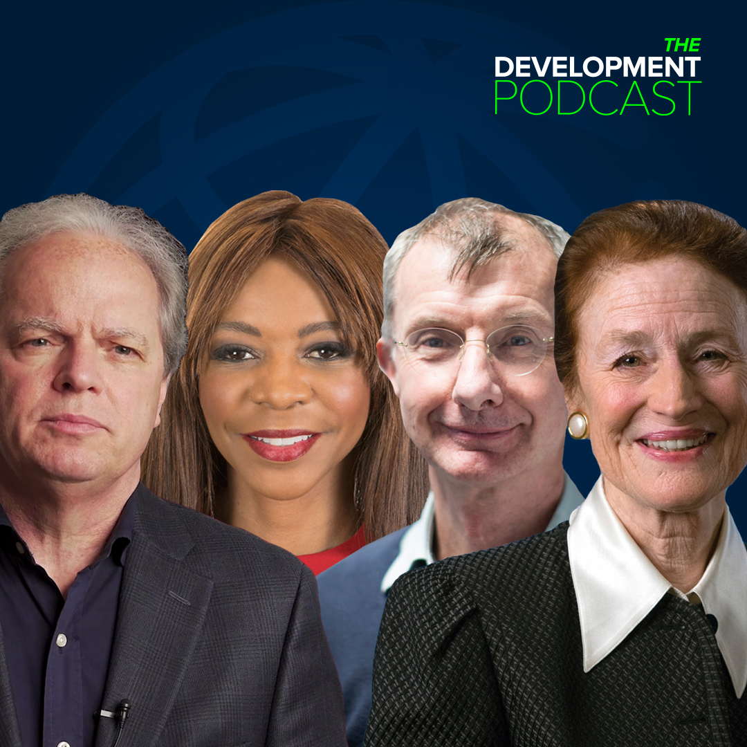 A promotional image for the Development Podcast, featuring Axel van Trotsenburg, Dambisa Moyo, Kevin Watkins, and Henrietta Fore.