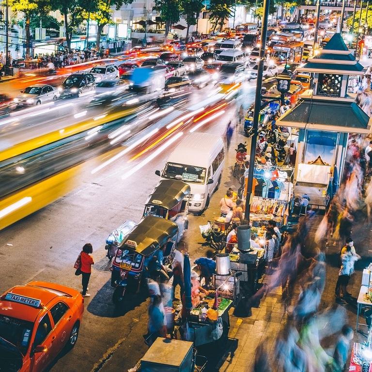 Street at night in Bangkok, Thailand