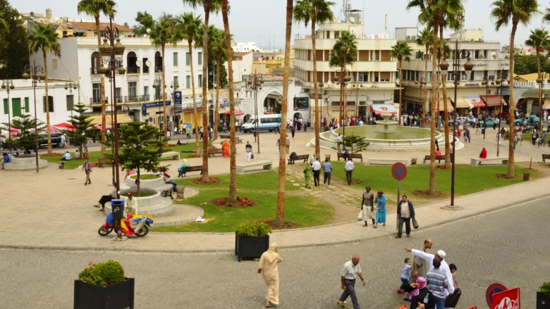 Busy Square in Tangier, Morocco