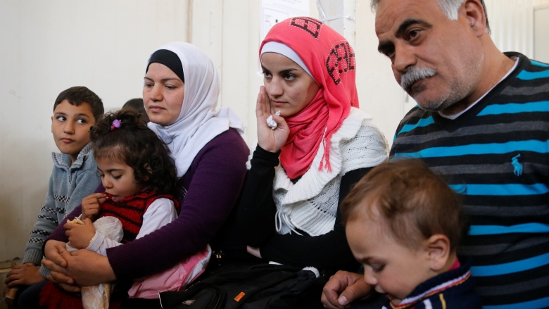 A Syrian refugee family in Lebanon.