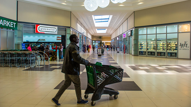 Shoppers at the newly opened East Park Mall in Lusaka