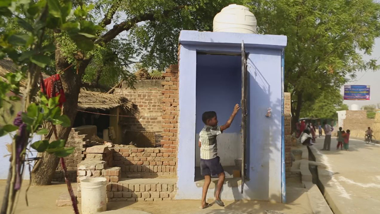 Child using Latrine in Rajasthan, India
