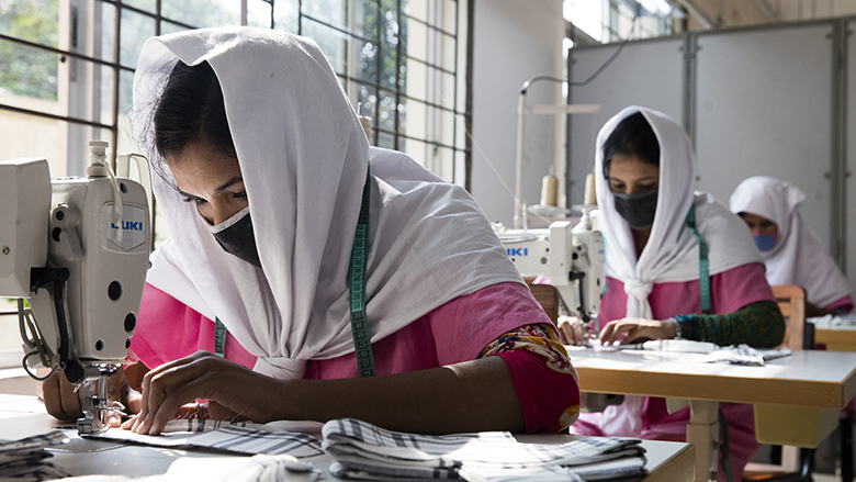 Young Bangladeshi women being trained at the Savar Export Processing Zone