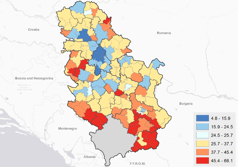 Poverty map of serbia understanding welfare at the local level to at risk of poverty rates in serbia world bank and sors staff estimates using the 2011 population census and 2013 silc data risk of poverty is defined gumiabroncs Images