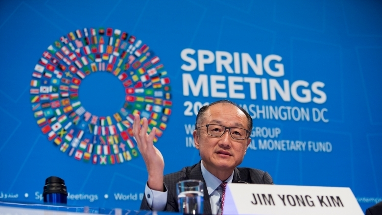 World Bank / IMF 2017 Spring Meetings Opening Press Conference: World Bank Group President Jim Yong Kim. Photo: Simone D. McCourtie / World Bank