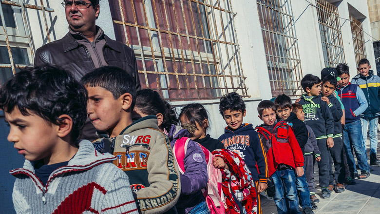 Fotokon | Shutterstock.com Students and teachers of primary school for Jordanians and Syrian refugees in Ar Ramtha city