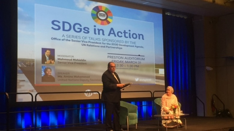 Mahmoud Mohieldin SDGs in action event with Amina Mohamed