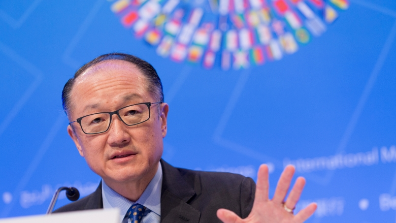 World Bank Group President Jim Yong Kim at the 2018 Spring Meetings Opening Press Conference. Photo:  World Bank / Simone D. McCourtie