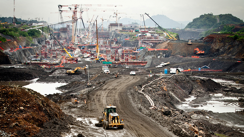 Construction works for the Panama Canal expansion project