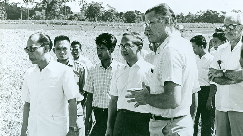President McNamara meeting with a local delegation from Indoensia during his visit to the country in 1968.