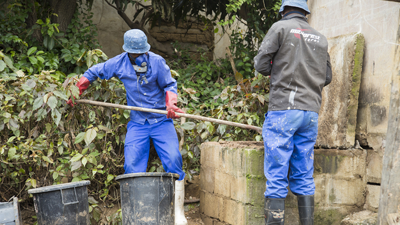 Sanitation workers in Durban, South Africa.