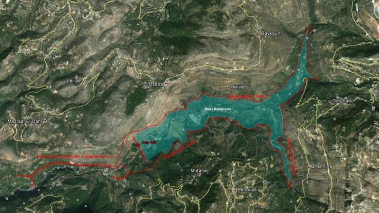 A map of the Lebanon Bisri Dam.