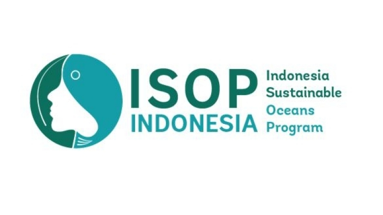 Indonesia Sustainable Oceans Program Logo a woman's profile, whale fish, blue and green
