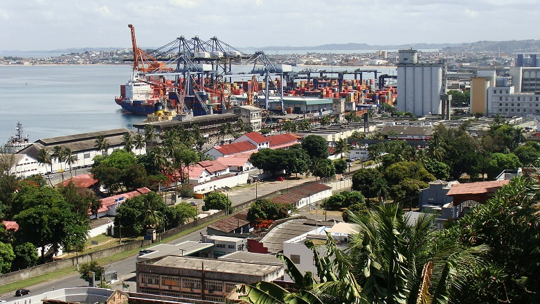 The Port of Salvador in All Saints Bay, Bahia, handles both cargo and cruise ships
