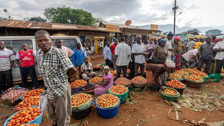 Market day in a town in eastern Uganda