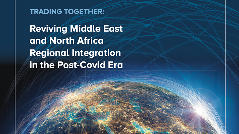 The October 2020 MENA Economic Update report image features a globe in the background and the title of the report: Trading Together — Reviving Middle East and North Africa Regional Integration in the Post-COVID Era.