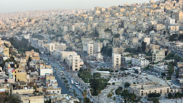 A view of the residential area buildings of the city of Amman, the capital and largest city of Jordan.