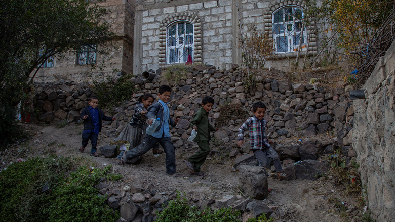 A group of Yemeni children playing in Al-Dhihla village, Anss District, Dhamar Governorate.